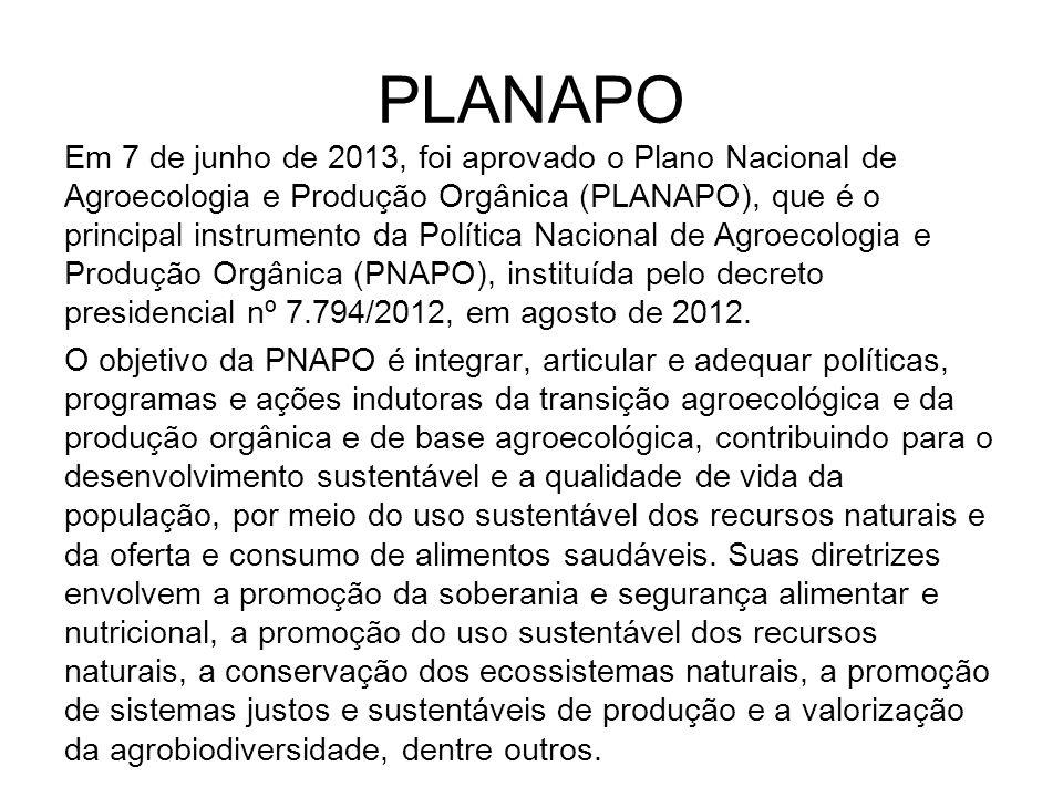 PLANAPO Em 7 de junho de 2013, foi aprovado o Plano Nacional de Agroecologia e Produção Orgânica (PLANAPO), que é o principal instrumento da Política