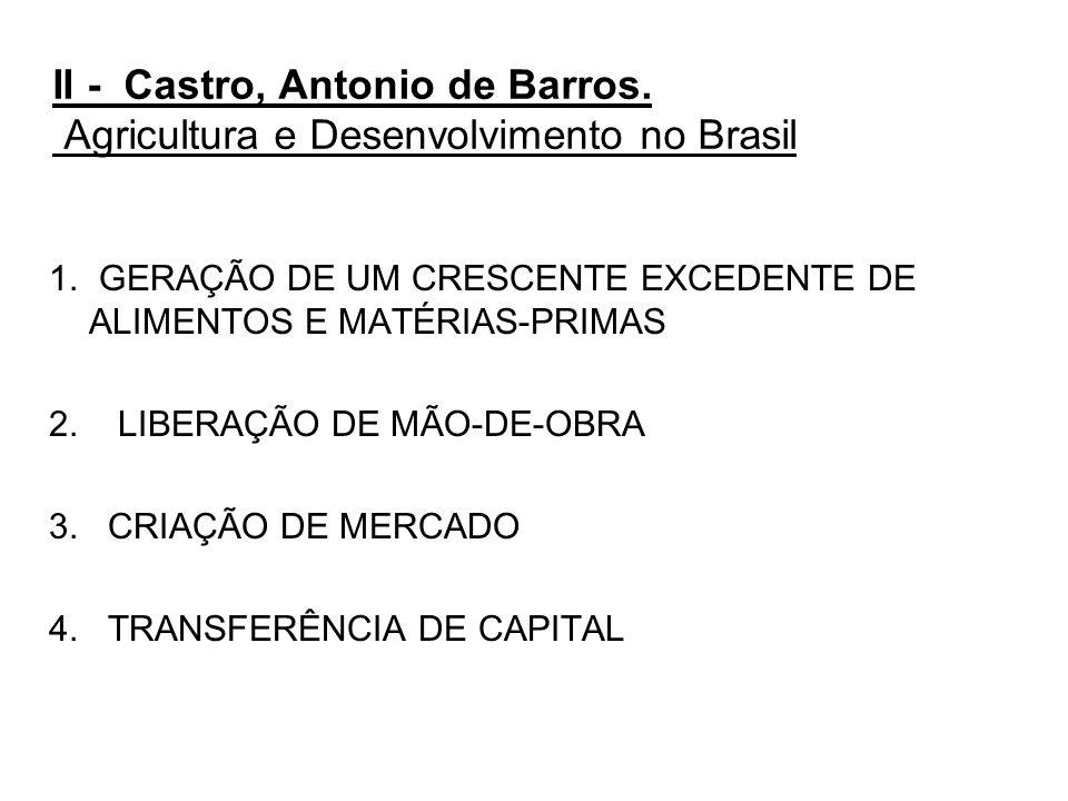 II - Castro, Antonio de Barros. Agricultura e Desenvolvimento no Brasil 1. GERAÇÃO DE UM CRESCENTE EXCEDENTE DE ALIMENTOS E MATÉRIAS-PRIMAS 2. LIBERAÇ