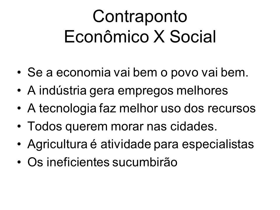 Contraponto Econômico X Social Se a economia vai bem o povo vai bem. A indústria gera empregos melhores A tecnologia faz melhor uso dos recursos Todos