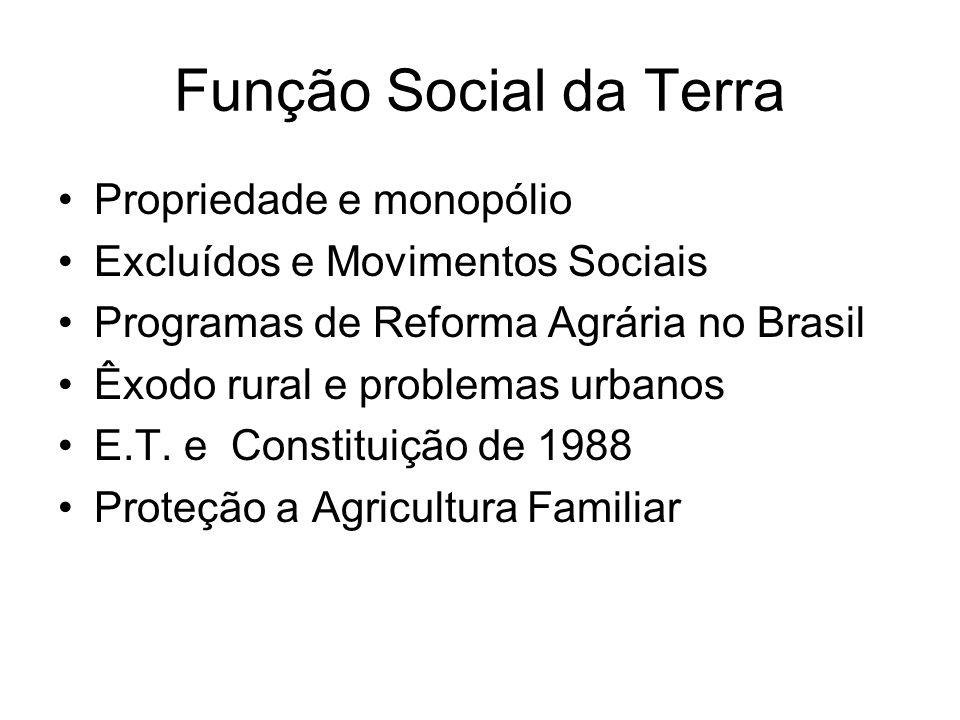 Função Social da Terra Propriedade e monopólio Excluídos e Movimentos Sociais Programas de Reforma Agrária no Brasil Êxodo rural e problemas urbanos E