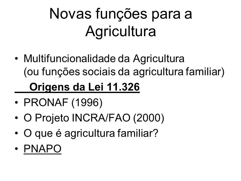 Novas funções para a Agricultura Multifuncionalidade da Agricultura (ou funções sociais da agricultura familiar) Origens da Lei 11.326 PRONAF (1996) O