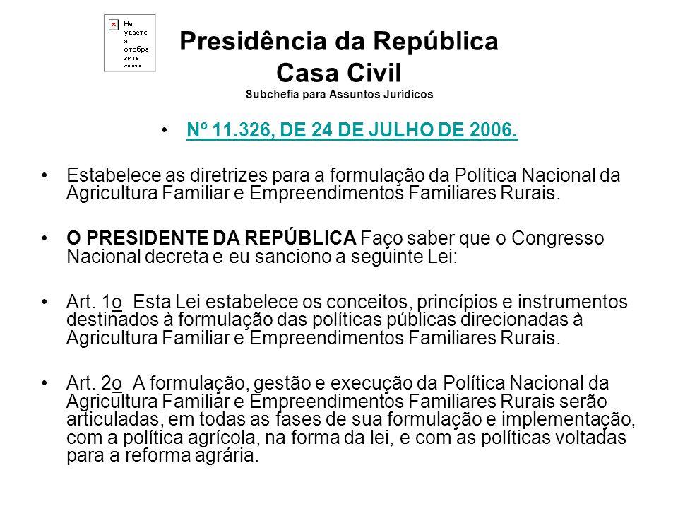 Presidência da República Casa Civil Subchefia para Assuntos Jurídicos Nº 11.326, DE 24 DE JULHO DE 2006. Estabelece as diretrizes para a formulação da