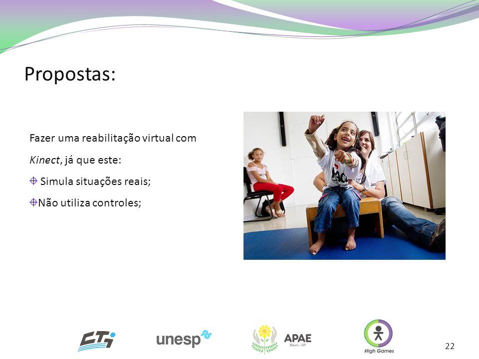 Propostas: 22 Fazer uma reabilitação virtual com Kinect, já que este: Simula situações reais; Não utiliza controles;