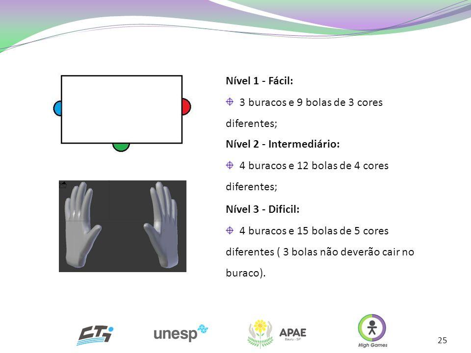 Nível 1 - Fácil: 3 buracos e 9 bolas de 3 cores diferentes; Nível 3 - Dificil: 4 buracos e 15 bolas de 5 cores diferentes ( 3 bolas não deverão cair n
