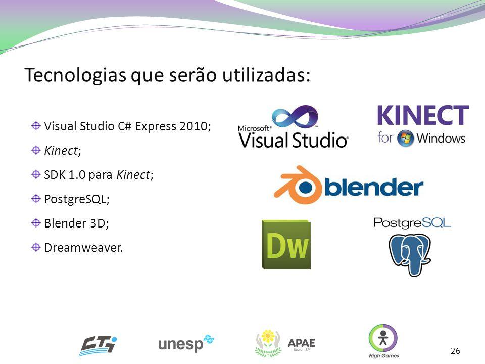 Tecnologias que serão utilizadas: 26 Visual Studio C# Express 2010; Kinect; SDK 1.0 para Kinect; PostgreSQL; Blender 3D; Dreamweaver.