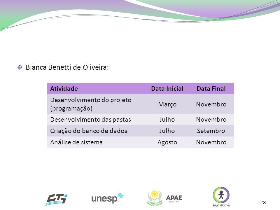 28 AtividadeData InicialData Final Desenvolvimento do projeto (programação) MarçoNovembro Desenvolvimento das pastasJulhoNovembro Criação do banco de
