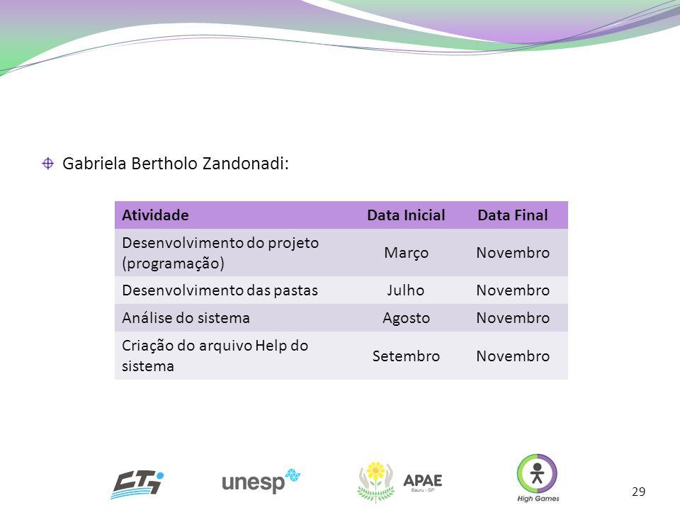29 Gabriela Bertholo Zandonadi: AtividadeData InicialData Final Desenvolvimento do projeto (programação) MarçoNovembro Desenvolvimento das pastasJulho