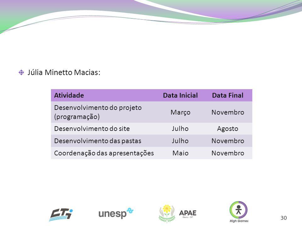 30 AtividadeData InicialData Final Desenvolvimento do projeto (programação) MarçoNovembro Desenvolvimento do siteJulhoAgosto Desenvolvimento das pasta
