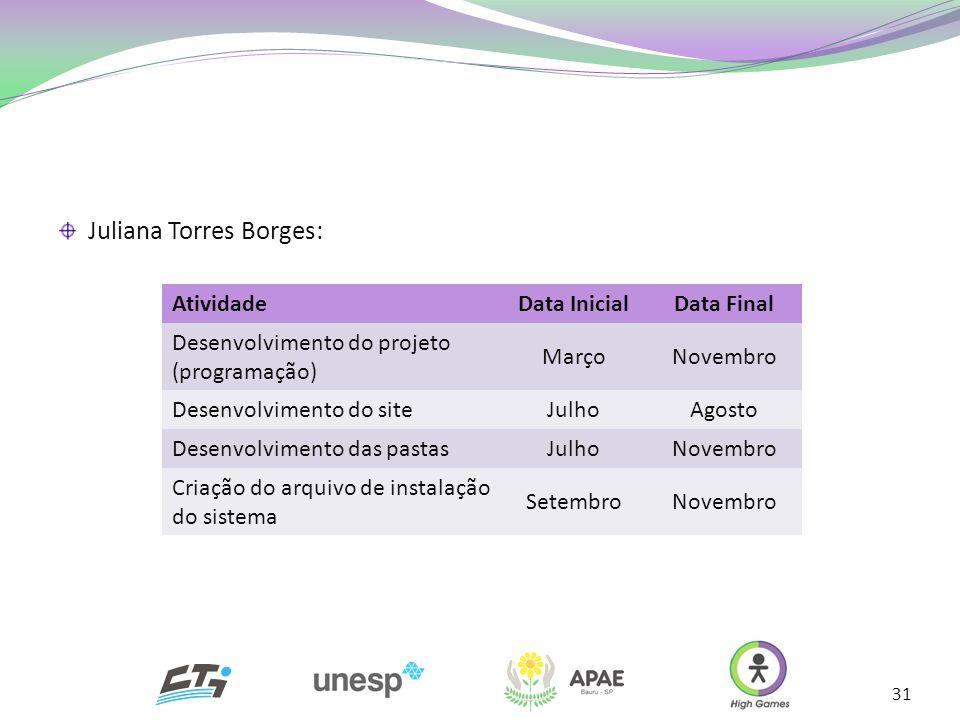 31 Juliana Torres Borges: AtividadeData InicialData Final Desenvolvimento do projeto (programação) MarçoNovembro Desenvolvimento do siteJulhoAgosto De