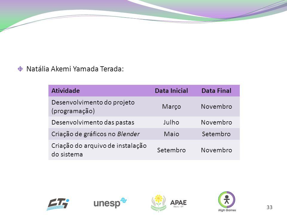 33 Natália Akemi Yamada Terada: AtividadeData InicialData Final Desenvolvimento do projeto (programação) MarçoNovembro Desenvolvimento das pastasJulho