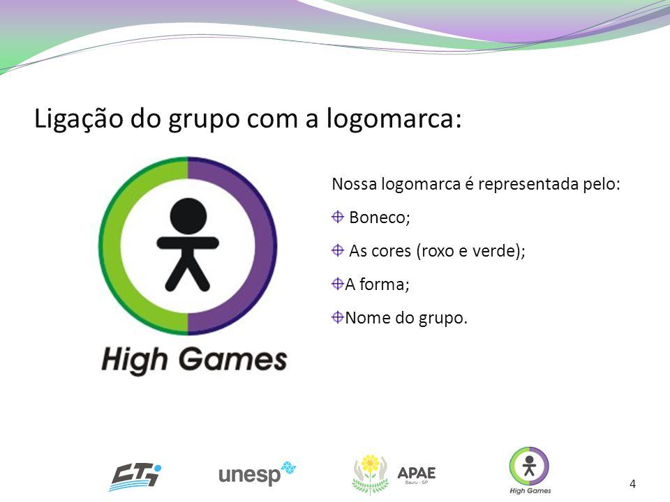Ligação do grupo com a logomarca: 4 Nossa logomarca é representada pelo: Boneco; As cores (roxo e verde); A forma; Nome do grupo.