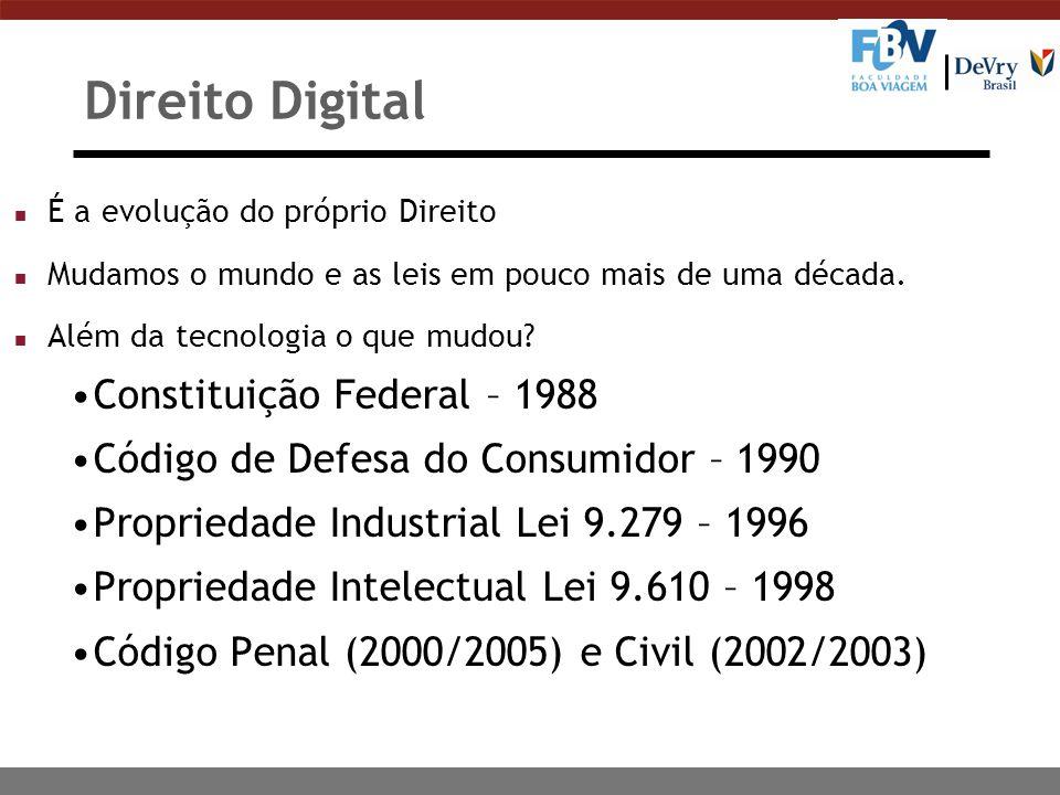 Direito Digital n É a evolução do próprio Direito n Mudamos o mundo e as leis em pouco mais de uma década. n Além da tecnologia o que mudou? Constitui