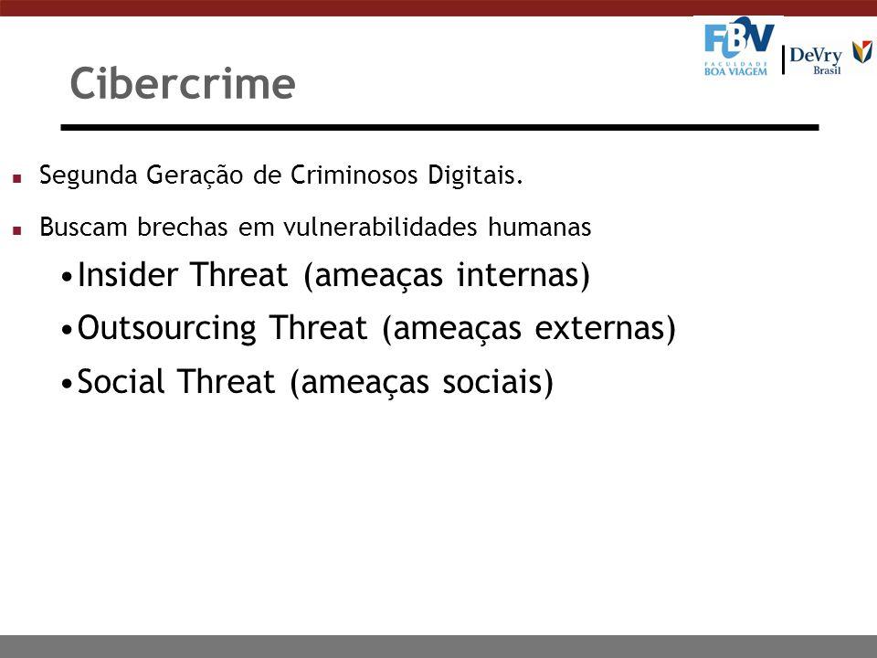 Cibercrime n Segunda Geração de Criminosos Digitais. n Buscam brechas em vulnerabilidades humanas Insider Threat (ameaças internas) Outsourcing Threat