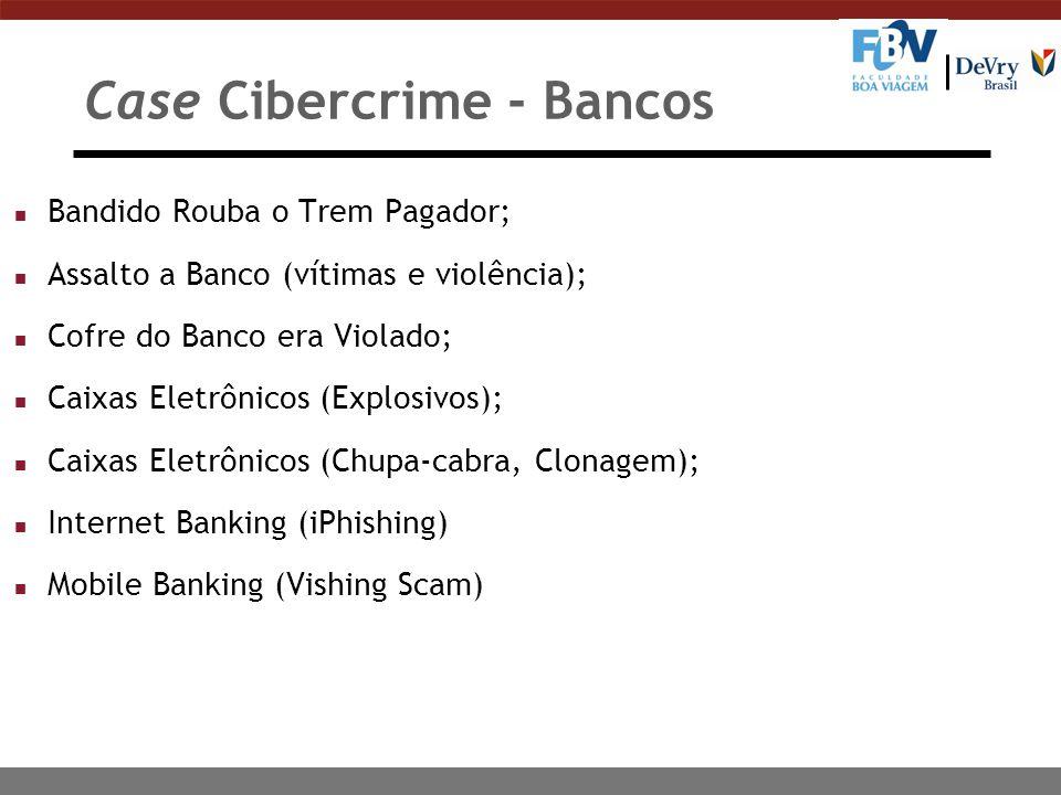 Case Cibercrime - Bancos n Bandido Rouba o Trem Pagador; n Assalto a Banco (vítimas e violência); n Cofre do Banco era Violado; n Caixas Eletrônicos (