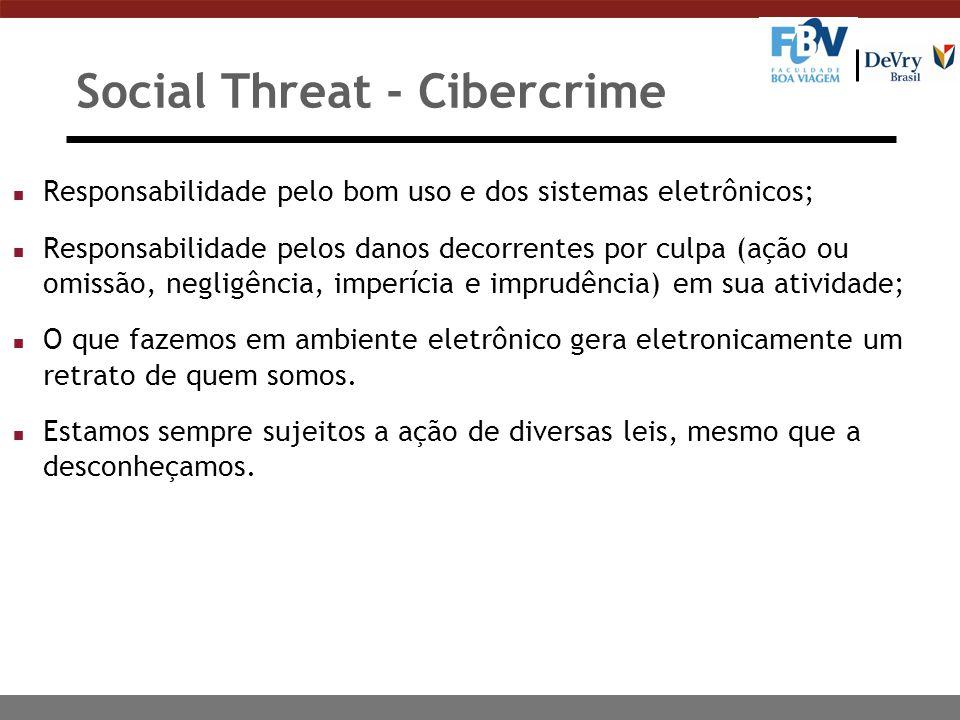 Social Threat - Cibercrime n Responsabilidade pelo bom uso e dos sistemas eletrônicos; n Responsabilidade pelos danos decorrentes por culpa (ação ou o