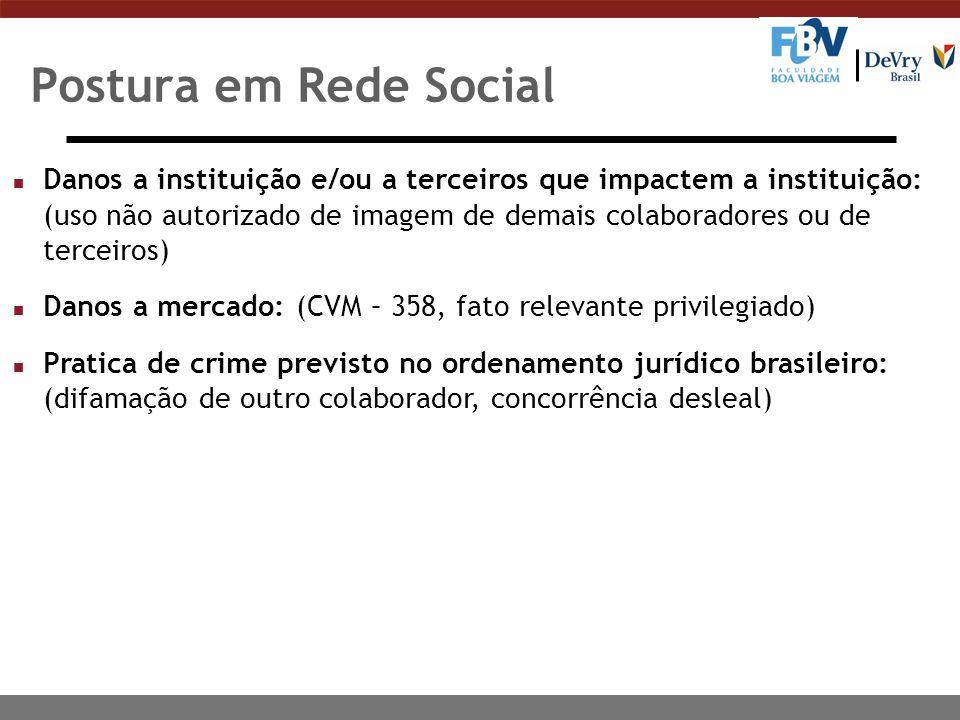 Postura em Rede Social n Danos a instituição e/ou a terceiros que impactem a instituição: (uso não autorizado de imagem de demais colaboradores ou de
