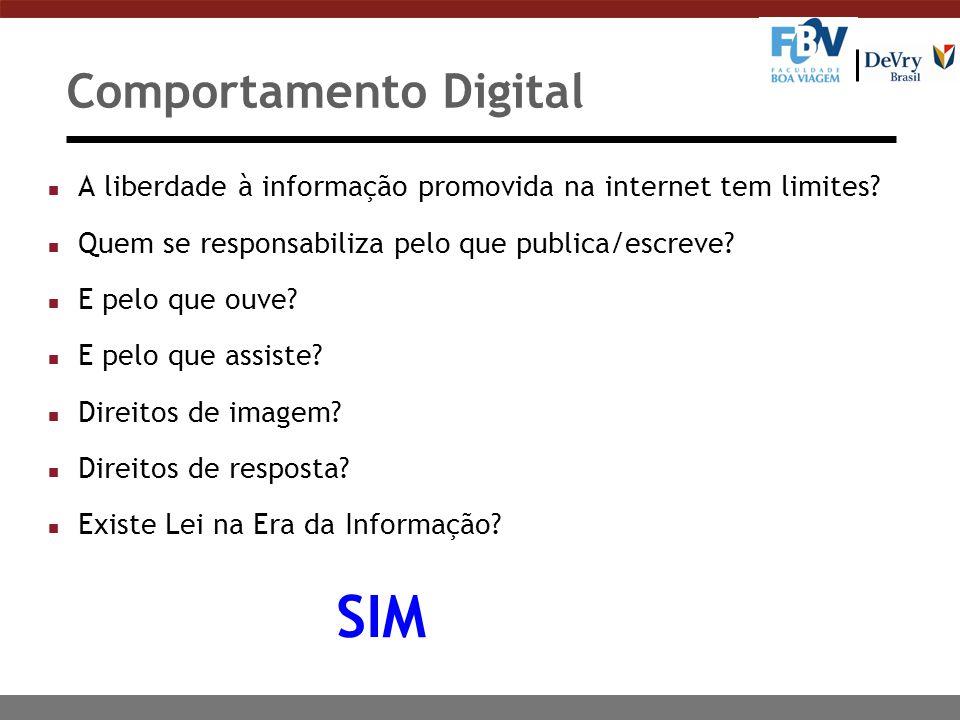 Comportamento Digital n A liberdade à informação promovida na internet tem limites? n Quem se responsabiliza pelo que publica/escreve? n E pelo que ou