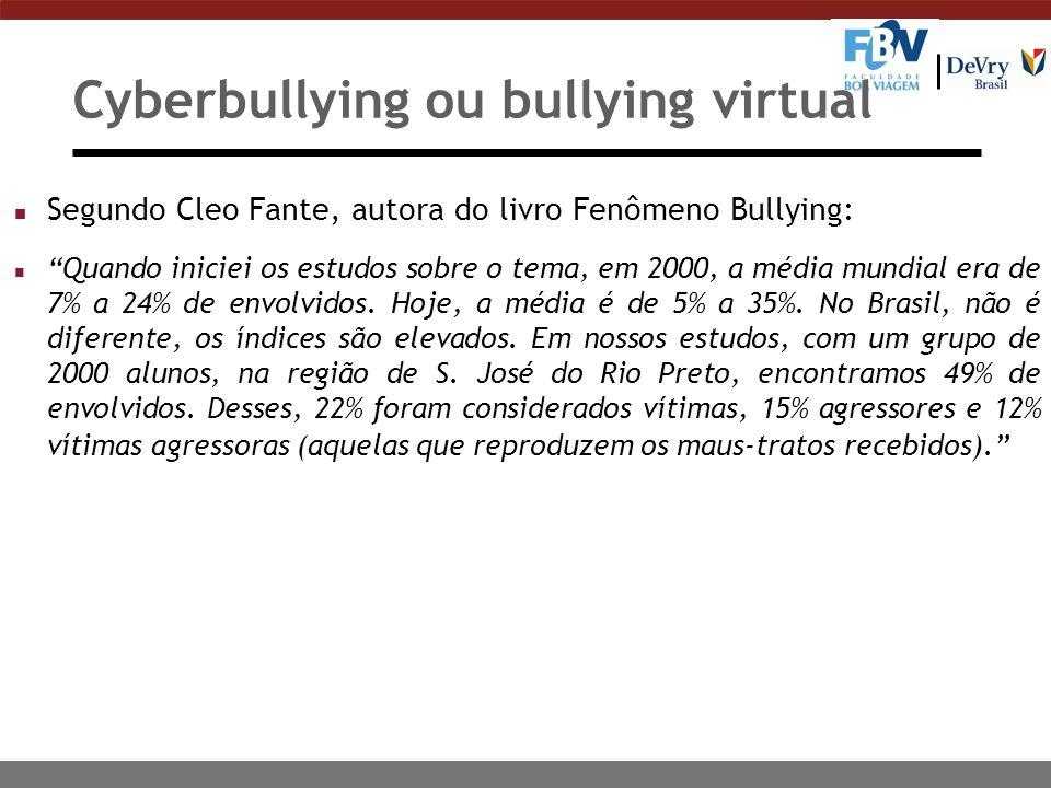 Cyberbullying ou bullying virtual n Segundo Cleo Fante, autora do livro Fenômeno Bullying: n Quando iniciei os estudos sobre o tema, em 2000, a média