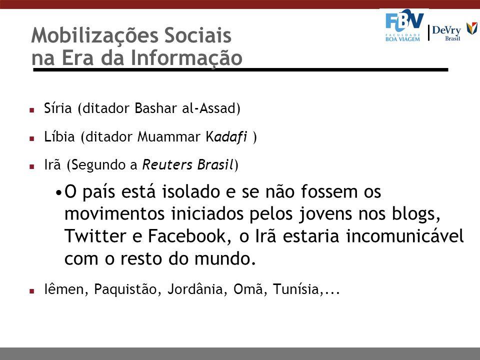 Mobilizações Sociais na Era da Informação n Síria (ditador Bashar al-Assad) n Líbia (ditador Muammar Kadafi ) n Irã (Segundo a Reuters Brasil) O país