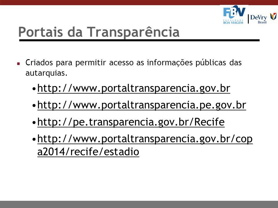 Portais da Transparência n Criados para permitir acesso as informações públicas das autarquias. http://www.portaltransparencia.gov.br http://www.porta