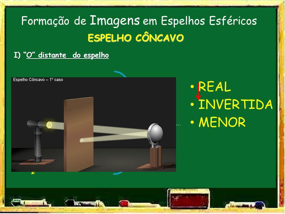 Formação de Imagens em Espelhos Esféricos V F C E.P. ESPELHO CÔNCAVO I) O distante do espelho O I INVERTIDA MENOR REAL
