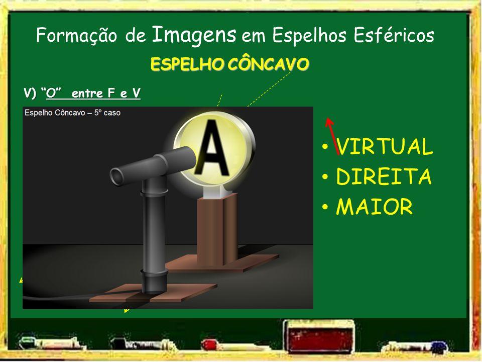 Formação de Imagens em Espelhos Esféricos V F C E.P. ESPELHO CÔNCAVO V) O entre F e V O VIRTUAL DIREITA MAIOR I
