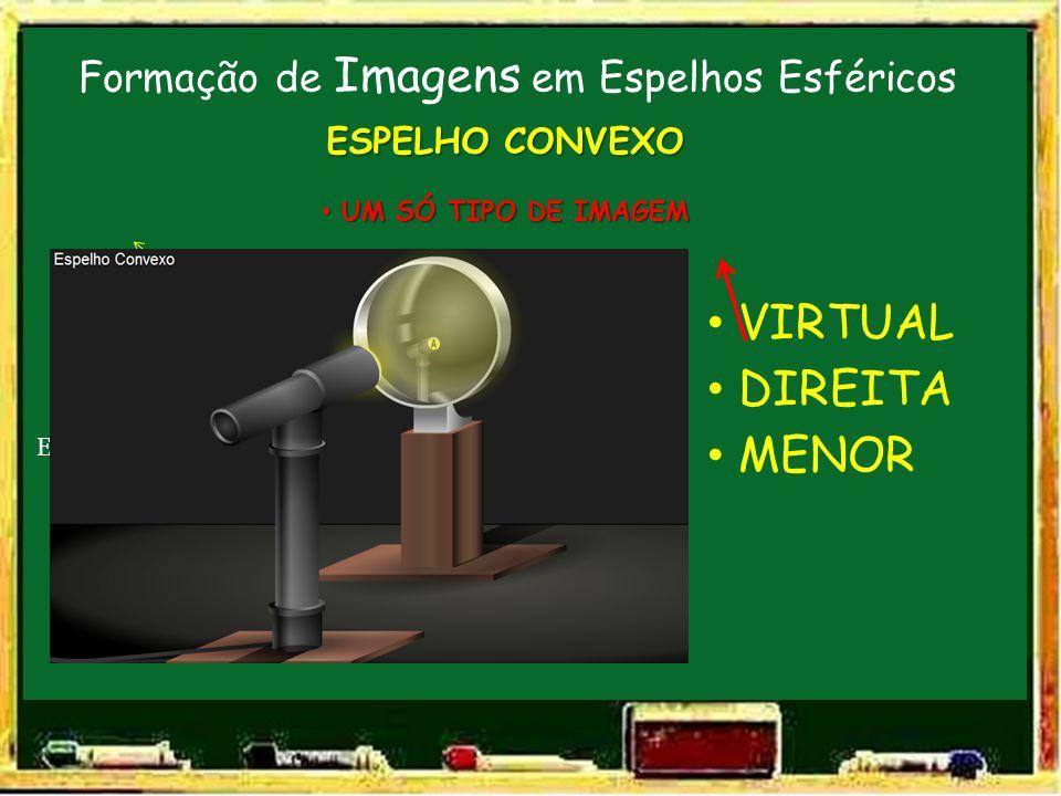 Formação de Imagens em Espelhos Esféricos V FC E.P. ESPELHO CONVEXO UM SÓ TIPO DE IMAGEM UM SÓ TIPO DE IMAGEM O VIRTUAL DIREITA MENOR I