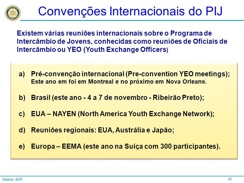 23 Distrito 4570 Convenções Internacionais do PIJ a)Pré-convenção internacional (Pre-convention YEO meetings); Este ano em foi em Montreal e no próxim