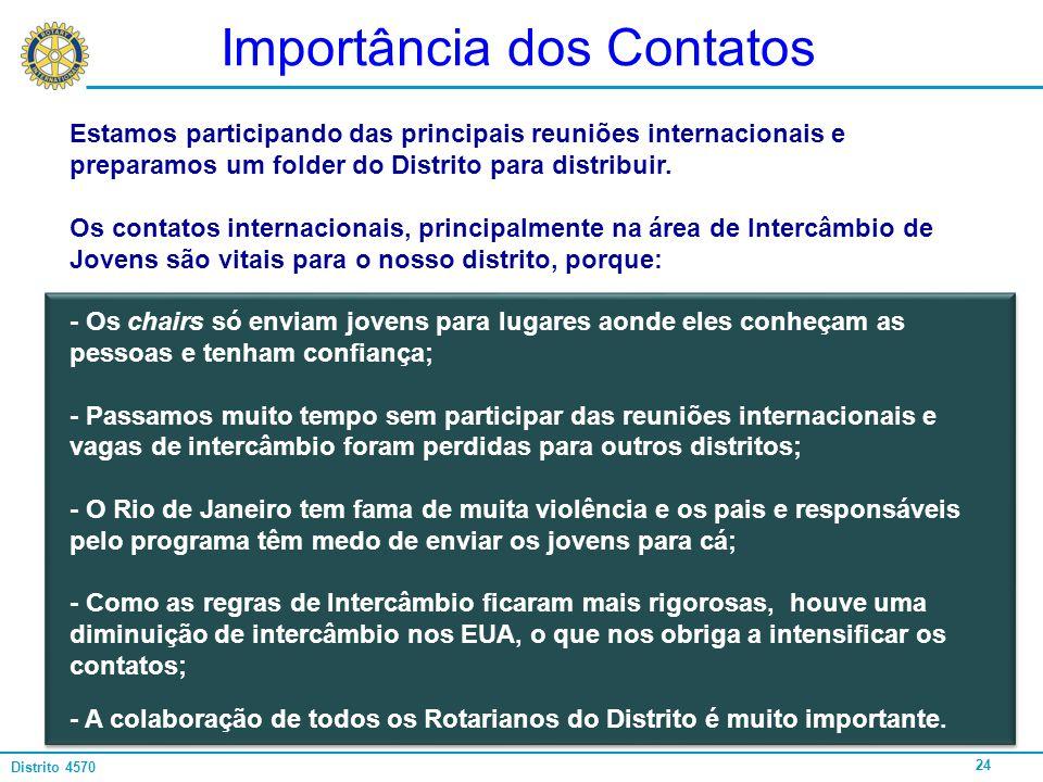24 Distrito 4570 Importância dos Contatos Estamos participando das principais reuniões internacionais e preparamos um folder do Distrito para distribu