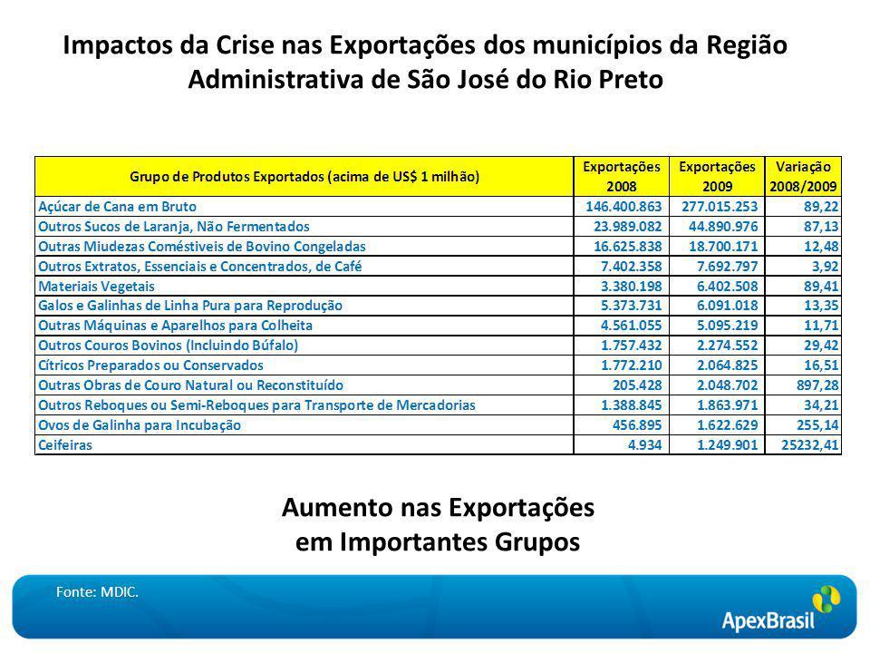 Impactos da Crise nas Exportações dos municípios da Região Administrativa de São José do Rio Preto Aumento nas Exportações em Importantes Grupos Fonte: MDIC.