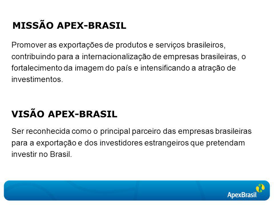 MISSÃO APEX-BRASIL Promover as exportações de produtos e serviços brasileiros, contribuindo para a internacionalização de empresas brasileiras, o fort