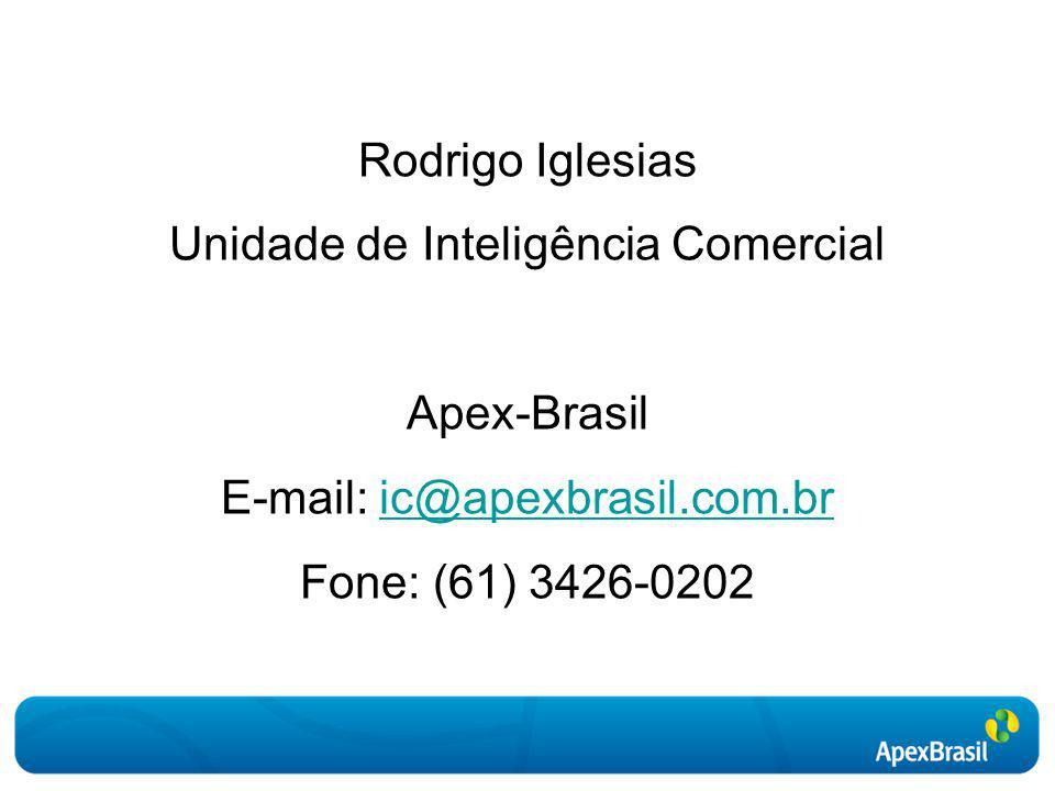 Rodrigo Iglesias Unidade de Inteligência Comercial Apex-Brasil E-mail: ic@apexbrasil.com.bric@apexbrasil.com.br Fone: (61) 3426-0202