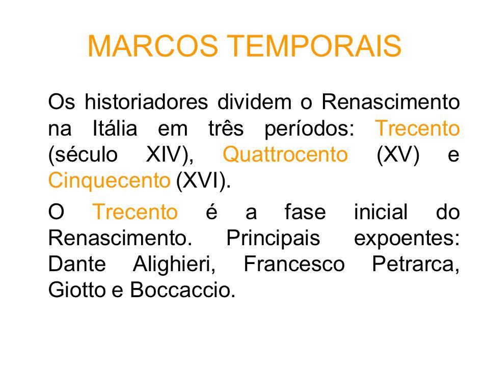 MARCOS TEMPORAIS Os historiadores dividem o Renascimento na Itália em três períodos: Trecento (século XIV), Quattrocento (XV) e Cinquecento (XVI).