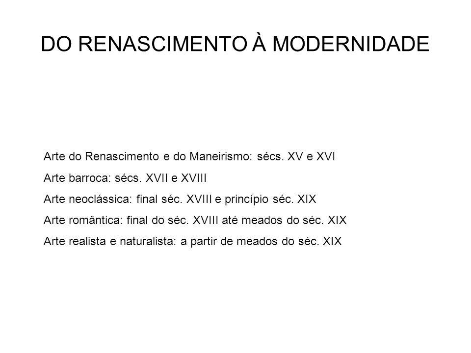 DO RENASCIMENTO À MODERNIDADE Arte do Renascimento e do Maneirismo: sécs.