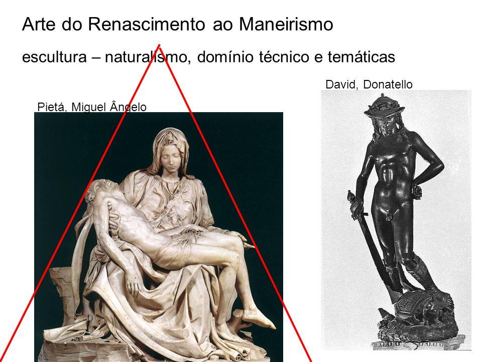 Arte do Renascimento ao Maneirismo escultura – naturalismo, domínio técnico e temáticas Pietá, Miguel Ângelo David, Donatello