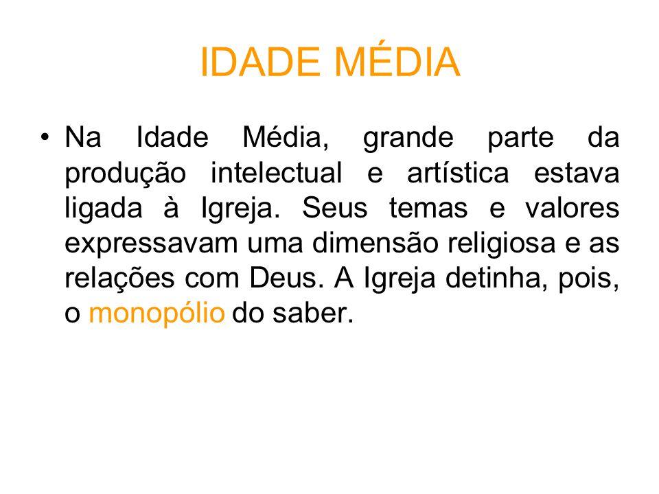 IDADE MÉDIA Na Idade Média, grande parte da produção intelectual e artística estava ligada à Igreja.