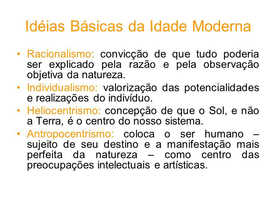 Idéias Básicas da Idade Moderna Racionalismo: convicção de que tudo poderia ser explicado pela razão e pela observação objetiva da natureza.