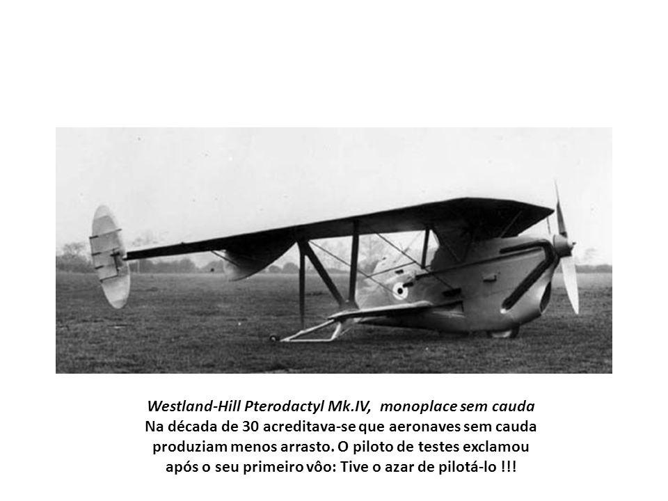 Westland-Hill Pterodactyl Mk.IV, monoplace sem cauda Na década de 30 acreditava-se que aeronaves sem cauda produziam menos arrasto. O piloto de testes