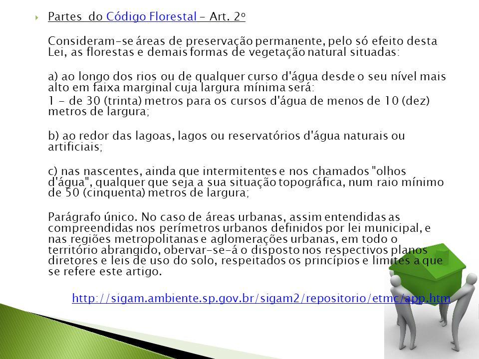 Partes do Código Florestal - Art. 2 oCódigo Florestal Consideram-se áreas de preservação permanente, pelo só efeito desta Lei, as florestas e demais f