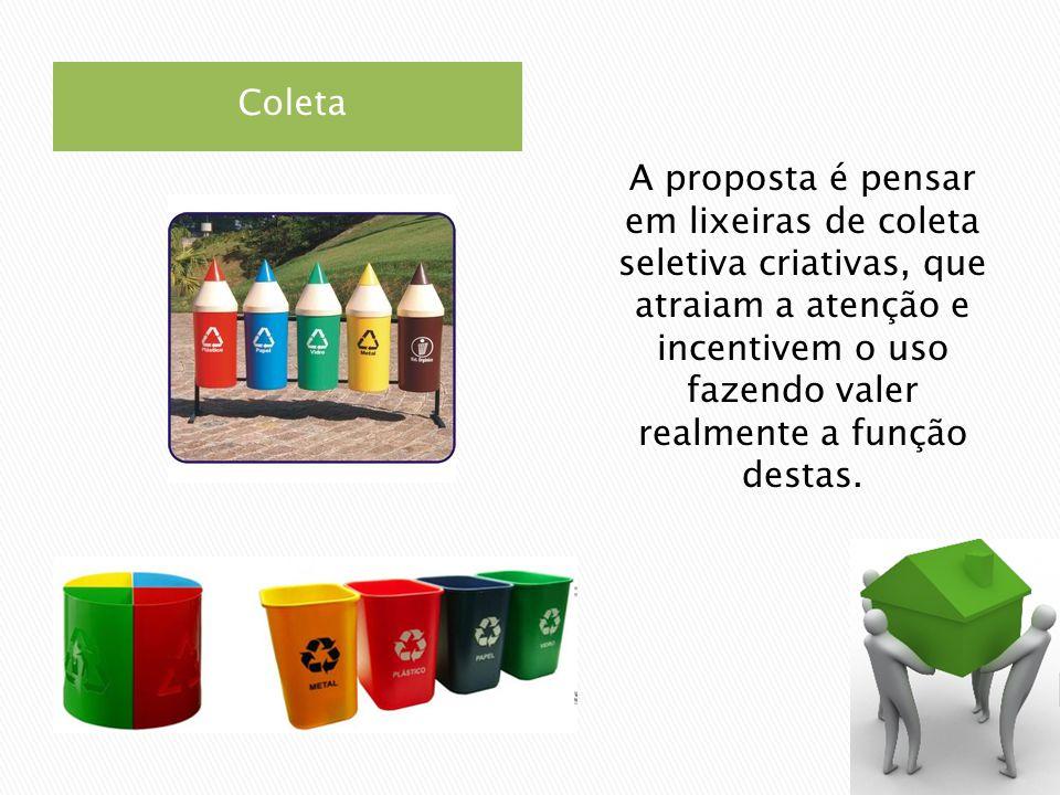 Coleta A proposta é pensar em lixeiras de coleta seletiva criativas, que atraiam a atenção e incentivem o uso fazendo valer realmente a função destas.