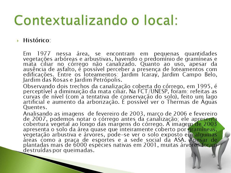 Histórico: Em 1977 nessa área, se encontram em pequenas quantidades vegetações arbóreas e arbustivas, havendo o predomínio de gramíneas e mata ciliar no córrego não canalizado.