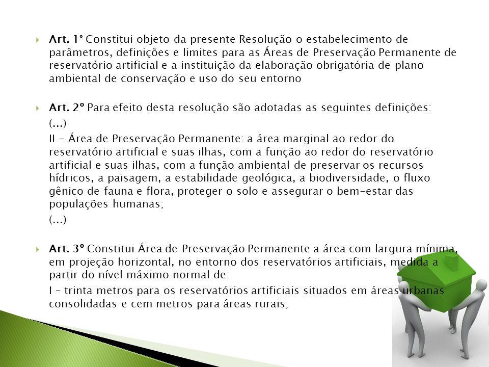 Art. 1° Constitui objeto da presente Resolução o estabelecimento de parâmetros, definições e limites para as Áreas de Preservação Permanente de reserv
