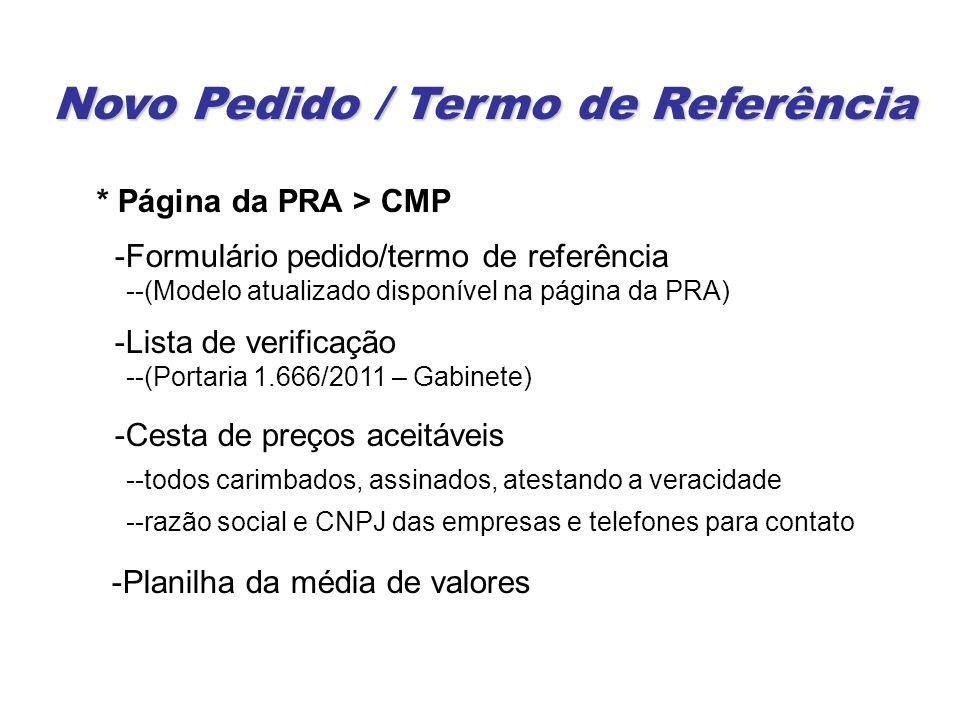 Novo Pedido / Termo de Referência * Página da PRA > CMP -Formulário pedido/termo de referência --(Modelo atualizado disponível na página da PRA) -Lista de verificação --(Portaria 1.666/2011 – Gabinete) -Cesta de preços aceitáveis --todos carimbados, assinados, atestando a veracidade --razão social e CNPJ das empresas e telefones para contato -Planilha da média de valores
