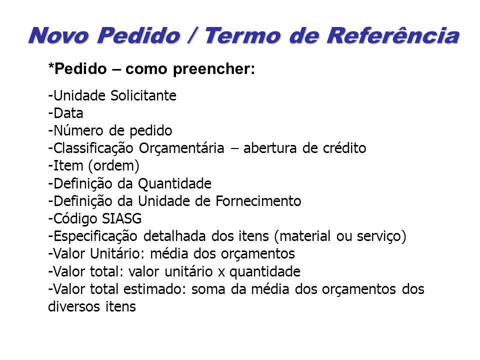 Novo Pedido / Termo de Referência *Pedido – como preencher: -Unidade Solicitante -Data -Número de pedido -Classificação Orçamentária – abertura de cré