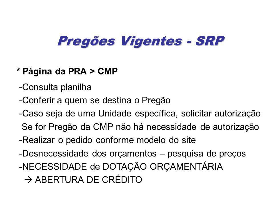 Pregões Vigentes - SRP * Página da PRA > CMP -Consulta planilha -Conferir a quem se destina o Pregão -Caso seja de uma Unidade específica, solicitar a