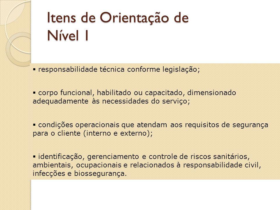 Padrão de Nível 1 Atende aos requisitos formais, técnicos e de estrutura para a sua atividade conforme legislação correspondente; identifica riscos específicos e os gerencia com foco na segurança.