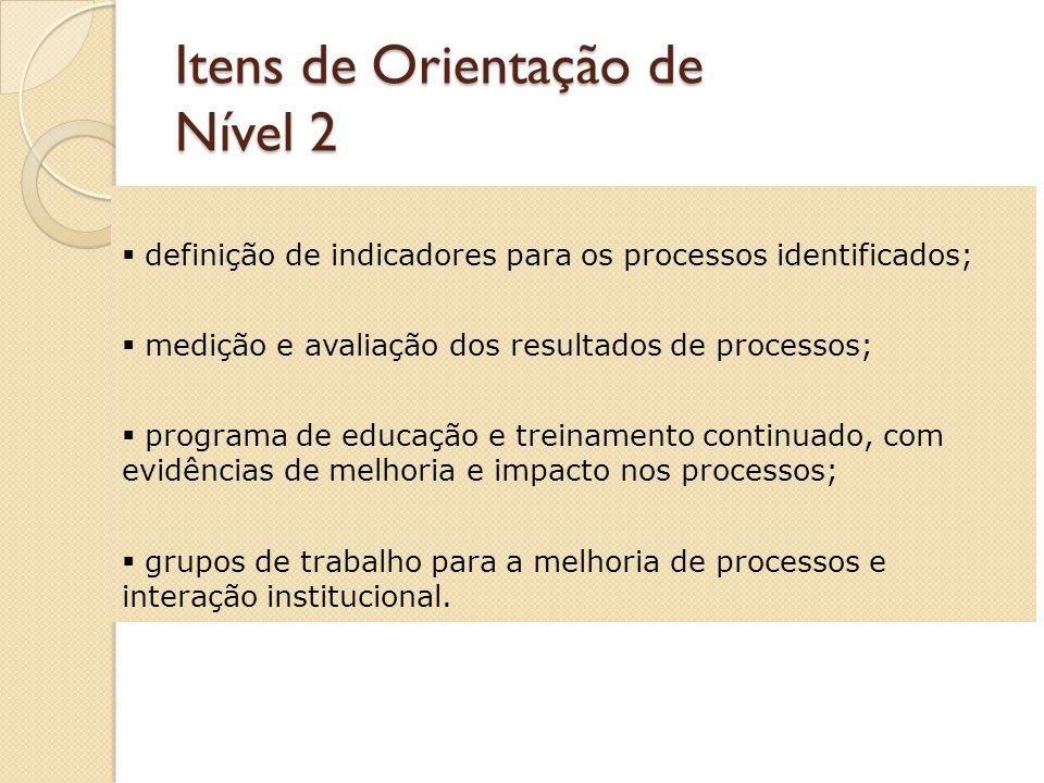 Itens de Orientação de Nível 2 identificação, definição, padronização e documentação dos processos; identificação de fornecedores e clientes e sua interação sistêmica; estabelecimento dos procedimentos; documentação (procedimentos e registros) atualizada, disponível e aplicada;