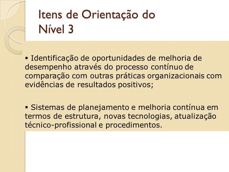 Itens de Orientação do Nível 3 Análise de tendência com apresentação de um conjunto de pelo menos três resultados consecutivos; Análises críticas sistemáticas com evidências de ações de melhoria e inovações;