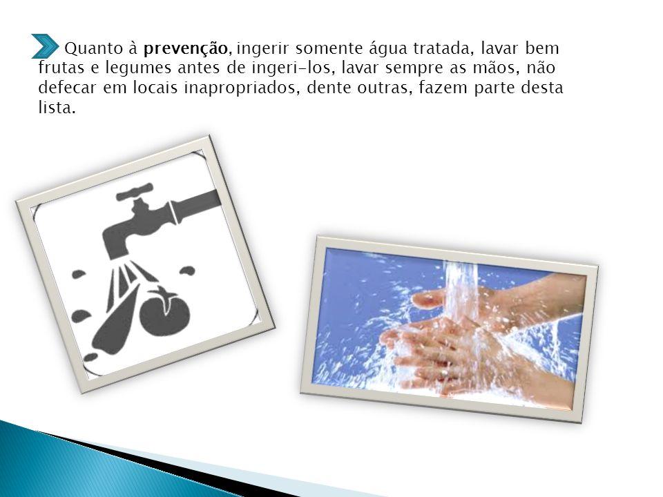 Quanto à prevenção, ingerir somente água tratada, lavar bem frutas e legumes antes de ingeri-los, lavar sempre as mãos, não defecar em locais inapropriados, dente outras, fazem parte desta lista.