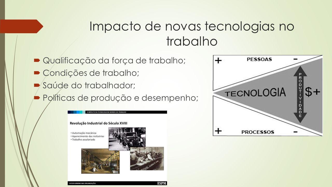 Impacto de novas tecnologias no trabalho Qualificação da força de trabalho; Condições de trabalho; Saúde do trabalhador; Políticas de produção e desem